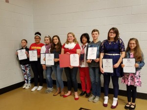 Bermudian Springs Middle School: Madison Wellan, Lillian Frazer, Taylor Kuhn, Isabella Bode, Rebekah Gerringer, Linda Hermansen VFW Post 8896 Representative, Ryan Durbin, Emily Ensor, Hannah Burns, Samuel Youker