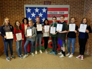 New Oxford Middle School: Lauren Robinson, Ilaiza Vargas, Linda Hermansen VFW Post 8896 Representative,Haley Glover, Emily Flesch, Daliah Garibay, Jacob Lavisone, Peter Brown, Edna Ibisevis, Jayden Pohlman